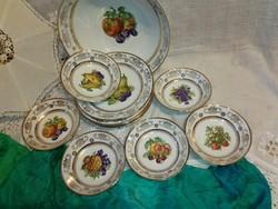 Gyümölcs étkészlet,porcelán, gyümölcsös képekkel,dúsan díszített. 12 db.