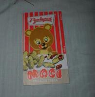 Maci nugátos tábla csomagolópapír, retro csokipapír (Budapest Csokoládégyár)