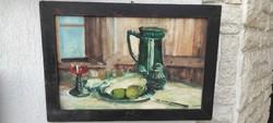 Asztali Csendélet festmény, fakeretben olaj karton.