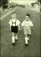 0L922 Régi fiú testvérpár gyerek fotográfia