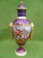 Különleges, kézi festett, Altwien fedeles vázácska