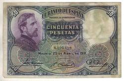 50 peseta 1931 Spanyolország 2.