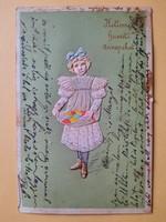Antik dombornyomott húsvéti üdvözlőlap, levelezőlap, 1904