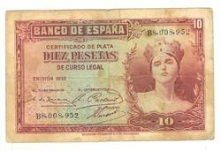 """10 peseta 1935 Spanyolország 1. """"B"""" sorozat"""