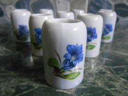 Korsó sörös mini miniatűr szett készlet porcelán kék virágos 4*4 cm 10 db