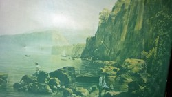 Sziklás tengerparti öböl régi  nagyméretű olajnyomat vakrámán