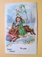 Antik levelezőlap, képeslap, húsvéti üdvözlőlap, 1904