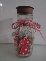 Glass - metal - candle holder - textile - wood - with decoration - 14 x 6 cm - flawless