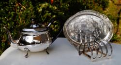 Ezüstözött Angol teás kanna tálca és szalvéta vagy toast tartó