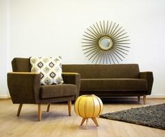 Teljeskörűen felújított retro ülőgarnitúra (kinyitható kanapé + 2db fotel)