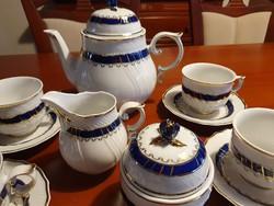 """Hollóházi  """"kék rózsa""""  teás készlet 6 személyes"""