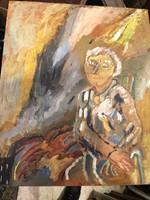 Szabadi jelzéssel, olaj, vászon festmény, 60 x 50 cm-es.