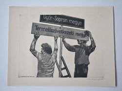 """Sáros András Miklós """" A mezőgazdaság szocialista átszervezése """" rézkarc"""