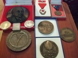 Bronz Emlék érmék kitüntetés 10 db egyben eladó