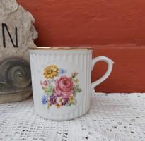 Gyönyörű virágos  rózsás cseh Czechslovakia bögre porcelán nosztalgia falusi paraszti dekoráció