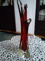Josef Hospodka terve alapján készült, cseh bíbor színű rétegelt művészi váza!