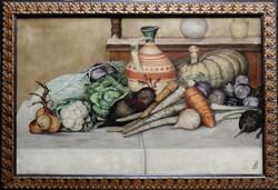 Kőrösy jelzéssel: Csendélet zöldségekkel, olajfestmény