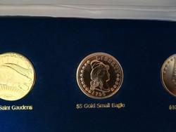 $5 Gold Small Eagle  - legszebb amerikai érmék, ⌀ 39 mm, aranyozott replika