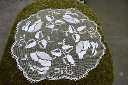 Régi rece csipke kézimunka csipke kör terítő asztalközép , asztali dísz 90 cm