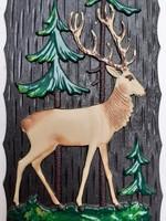 Retro műanyag szarvasos falikép falidísz
