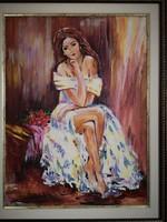 Nő rózsacsokorral - Hepp Natália hangulatos olaj - akril jfestménye gyönyörű keretben