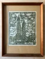 Ismeretlen művész Vásár a templom előtt, fametszet, papír, 28,2x22,5cm