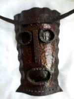 Bronzírozott kovácsolt vas iparművészeti busó àlarc