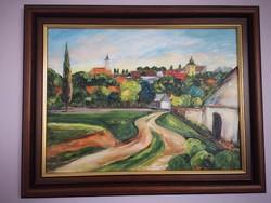 Szentendre - Fábiánné Leskó Mária gyönyörű akril festménye szép kerettel együtt