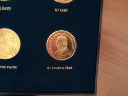 $1 Lewis & Clark - legszebb amerikai érmék,  ⌀ 39 mm , aranyozott replika