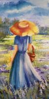 Kék mezőn- B. Tóth Irisz gyönyörű, hangulatos olajfestménye vakkereten