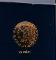 $5 Indian  - legszebb amerikai érmék, ⌀ 39 mm, aranyozott replika