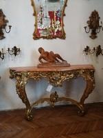 Aranyozott fa konzolasztal XIX. század