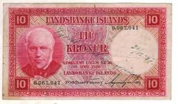 10 kronur 1928 Izland piros