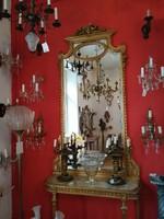 Aranyozott fa konzolasztal tükörrel XIX. század