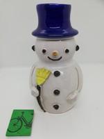 Retró képcsarnokos kerámia gyertyatartó hóember
