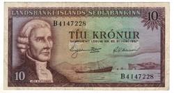 """10 kronur 1957 Izland 7 jegyű sorszám előtt """"B"""""""