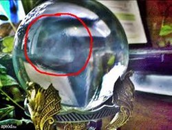 Antique, quartz crystal ball, divination sphere. The 200-year-old orbuculum in which fate and other