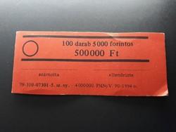 Retró bankjegykötegelő szalag 5000 Ft-os bankjegyhez - Papírpénz kötegelő bankjegyszalag