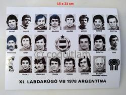 Magyar Labdarúgó Válogatott 1978 VB tablófénykép Nyilasi Törőcsik, Fazekas futball foci