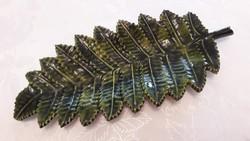 Régi zománcos tál páfránylevél alakú vintage zománcozott öntöttvas dísztál 31 cm