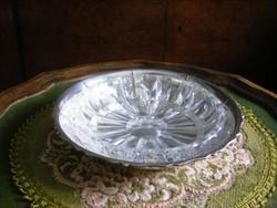 Gyönyörű, antik, ezüstözött, kristálybetétes kínáló tál, asztalközép