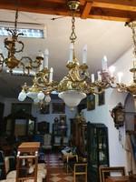 Restaurált antik 12 karú réz csillár