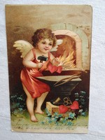Antik, litho/litográfiás, dombornyomott képeslap/üdvözlőlap angyal, szív 1906-ból
