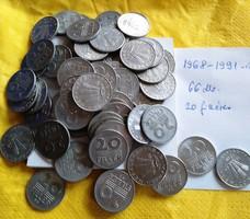 20 filléres   66  db  1968-1991   eladó
