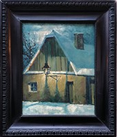 Kóbor Henrik  (1885-1964) -Tabán 1930 c. Festmény Eredeti Garanciával