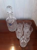 Ólom kristály likőrös whiskys készlet, butélia, poharak - Híres Mata Kristály Parádfürdő