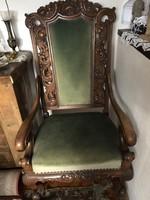 Barokk faragott íroasztal fotel