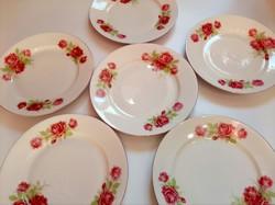 Zsolnay rózsás tányér,6 db