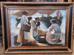 Mosó asszonyok a parton- olaj vászon festmény- blondel keretben