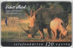 Magyar telefonkártya 0299  1998 Szélesszájú orrszarvú      50.000 Db-os